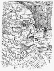 Portrait de Sade fictif dans Les Mains Libres, Paul Eluard et Man Ray, 1937