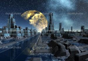 Alien cityscape at night - fantasy planet