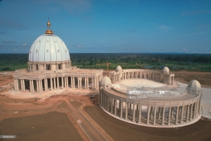 St.Peter's-like Basilica of Our Lady of Peace being built for $2 mill., pet project of Pres. Houphouet-Boigny, Roman Catholic convert. (Photo by Barry Iverson/The LIFE Images Collection via Getty Images/Getty Images)